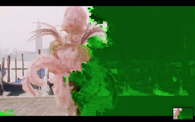 screen with green glitch