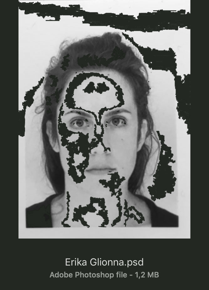 erika glionna document photo with black parts on her skin